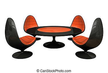 quatre, table, noir, fauteuils, orange