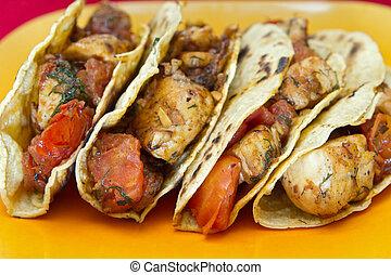 quatre, tacos, poulet