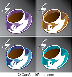 quatre, tasses café
