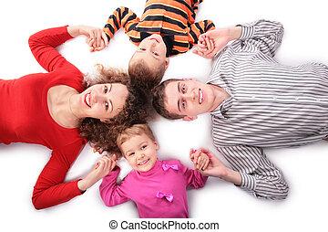 quatre, touchs, famille, mains