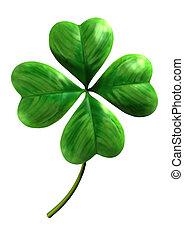 quatre, trèfle, leafed