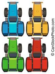 quatre, tracteurs, sommet, couleurs, vue