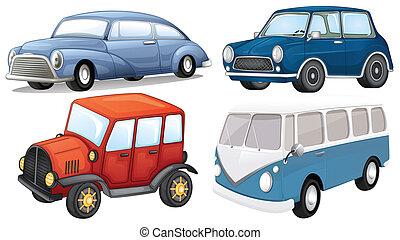 quatre, transport, différent, genres