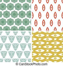 quatre, tribal, arrière-plans, formes, motifs, géométrique,...
