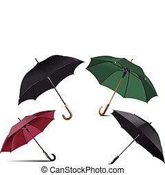 quatre, types, parapluie, ouvert, pluie