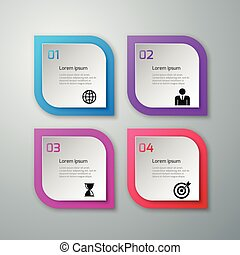 quatre, vecteur, options, illustration, infographics