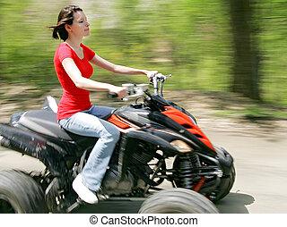 quatre wheeler, femme, rouges
