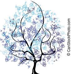 quatres saisons, vector, -, boompje