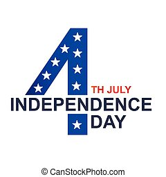 quatrième, image, blanc, vecteur, fond, juillet, jour, indépendance