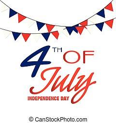 quatrième, image, drapeau, vecteur, fond, juillet, jour, indépendance
