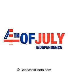 quatrième, image, vecteur, fond, juillet, blanc, indépendance
