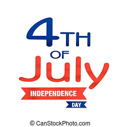 quatrième, image, vecteur, ruban, fond, juillet, jour, indépendance