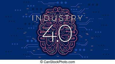 quatrième, industrie, industriel, vecteur, 4.0, illustration., concept, revolution.