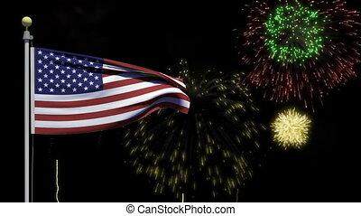 quatrième, juillet, américain, feux artifice, drapeau