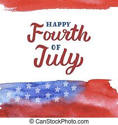 quatrième juillet, heureux, lettrage