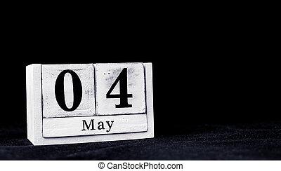 quatrième, mai, espace, blocs, texte, mois, 4ème, calendrier, 4, vendange, -, blanc, bois, vide, fond, noir, premier mai