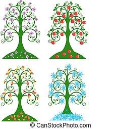 quatro, árvore, sazonal