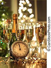 quatro, ano, pronto, novo, óculos champanha