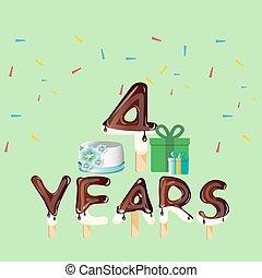 quatro, anos, cartão aniversário, celebração