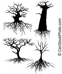 quatro, antigas, diferente, árvore, silhuetas