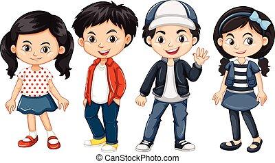 quatro, asiático, crianças, com, rosto feliz