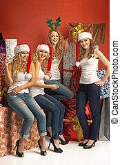 quatro, atraindo, meninas, promover, a, natal