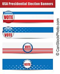 quatro, banners., jogo, fundo, voto