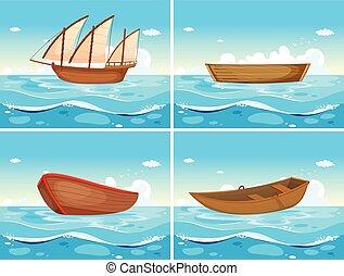 quatro, barcos, cenas, oceânicos