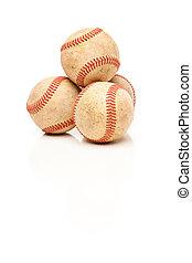 quatro, baseballs, isolado, ligado, refletivo, branca