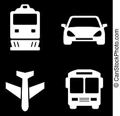 quatro, branca, transporte, ícones