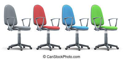 quatro, cadeiras escritório, de, diferente, colors.