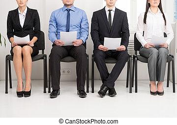 quatro, candidatos, competir, para, um, position., tendo,...
