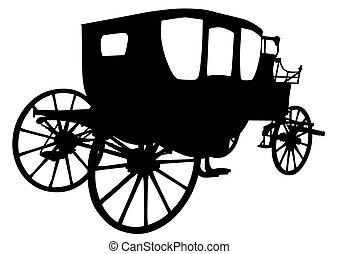 quatro, carruagem, antigas