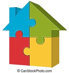 quatro, casa, quebra-cabeça, partes