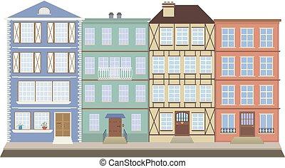 quatro, casas, rua, antigas