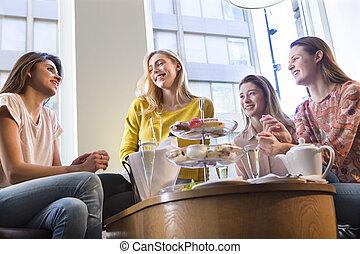 quatro, chá, mulheres, tarde, tendo