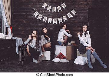 quatro, charming, modelo, posar
