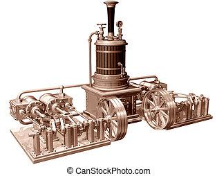 quatro, cilindro, motor vapor, e, caldeira