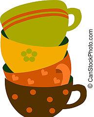 quatro, coloridos, copos, vetorial, ilustração