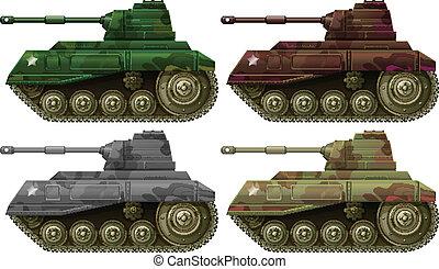 quatro, combate, tanques