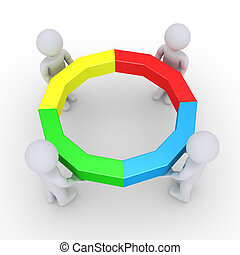 quatro, completado, círculo, segurando, pessoas