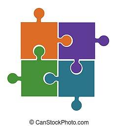 quatro, confunda pedaços, laranja, violeta, verde azul, vetorial, ícone, conceito, de, problema, solução, ou, conexão, processo