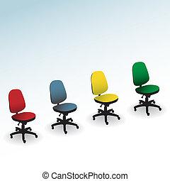 quatro, cor, cadeira escritório, isolado, ligado, um, branca, -, ilustração