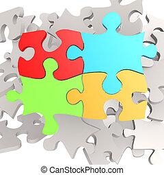 quatro, cor, quebra-cabeça, jigsaw