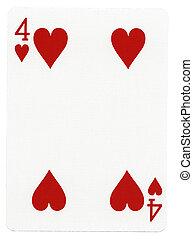 quatro, corações, -, cartão jogando