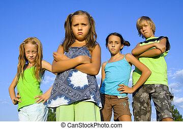 quatro, crianças, bando