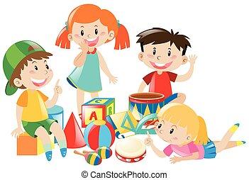 quatro, crianças, jogar brinquedos