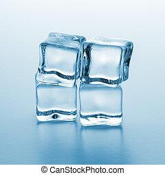quatro, cubos, gelo