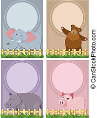 quatro, cute, animais, modelo, fundo