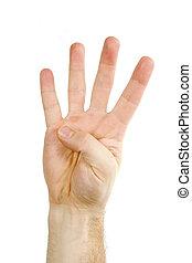 quatro, dedos, isolado